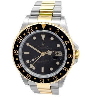 Pre-owned 40mm Rolex 18k Yellow Gold and Stainless Steel Oyster Perpetual GMT-Master II with Black Dial - N/A - N/A