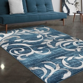 """Allstar Rugs Blue and Sky Blue Modern Floral Scroll Hand Carved Rectangular Accent Area Rug with Grey Design - 7' 5"""" x 9' 8"""""""