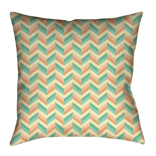 Katelyn Elizabeth Green & Orange Chevrons (Pillow Cover Only) - Poly Twill
