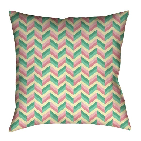 Katelyn Elizabeth Green & Pink Chevrons Pillow - Spun Polyester with concealed zipper