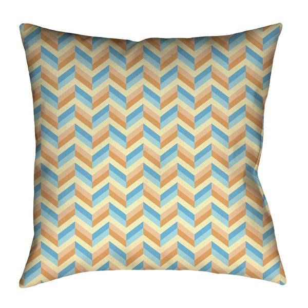Katelyn Elizabeth Blue & Orange Chevrons Pillow - Faux Linen