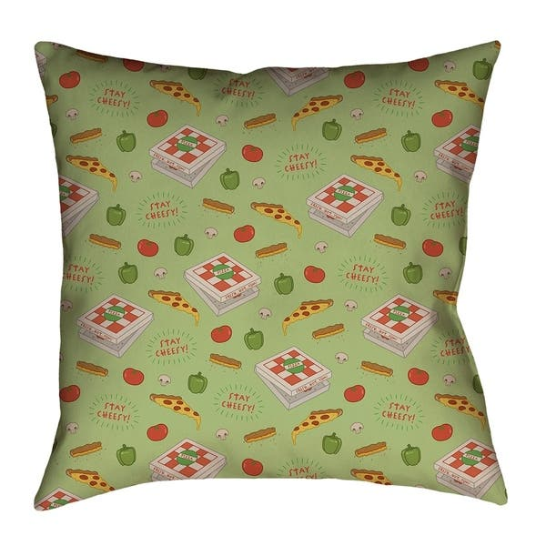 Katelyn Elizabeth Green Color Pizza Pattern Pillow Cover Only Cotton Twill Overstock 26455643