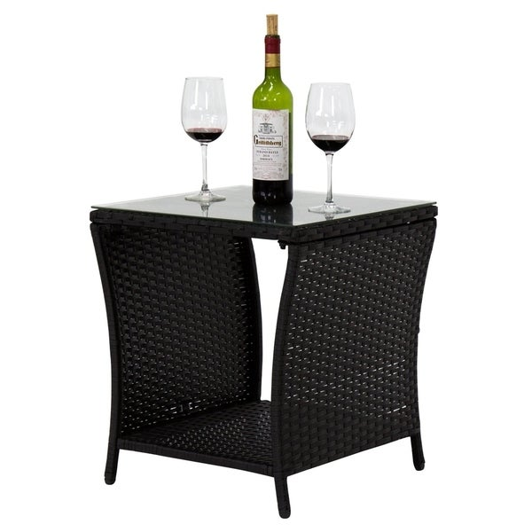 Wicker Coffee Table With Glass Top: Shop Kinbor Outdoor Square Wicker Side Table Rattan Coffee