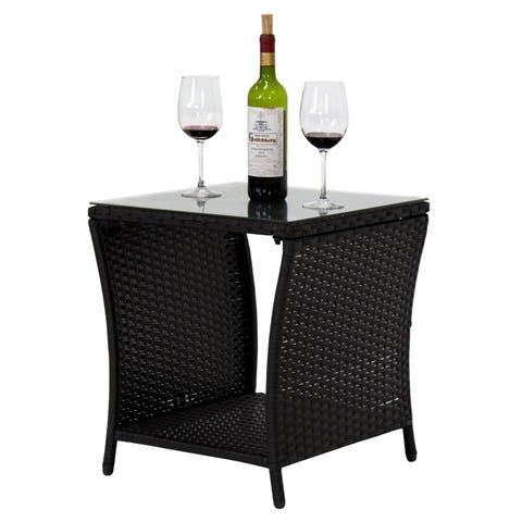 Havenside Home Wilminton Outdoor Square Wicker Side Table with Glass Top & Storage