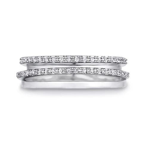 Half Eternity Stacked Rings 0.18ctw CZ in Silver Tone Rhodium Plating
