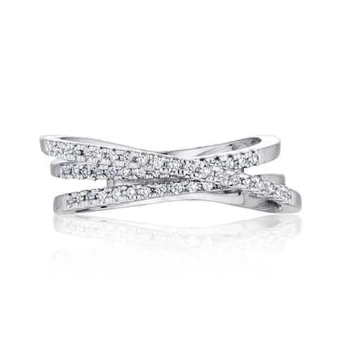 Intertwined Crossover Statement Ring 0.2ctw CZ in Rhodium Plating