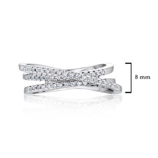 Intertwined Crossover Statement Ring 0.2ctw CZ in Rhodium Plating - Silver