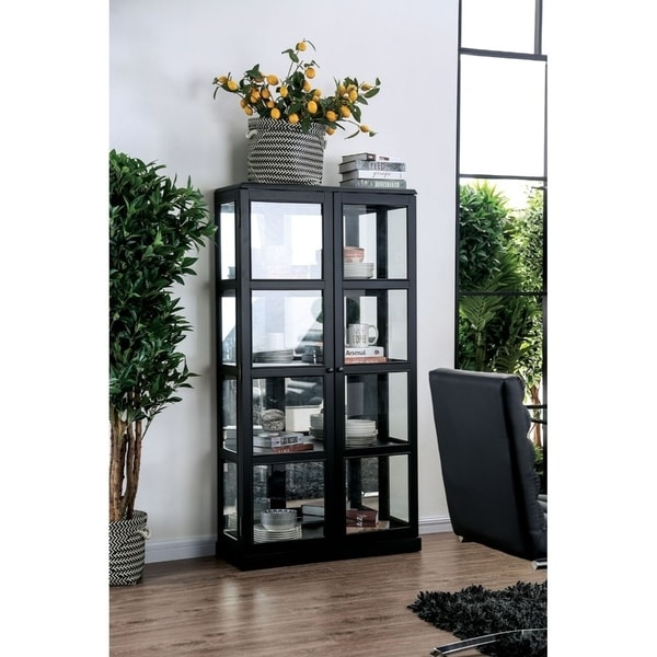 Wooden Curio Cabinet with Two Glass Doors and Four Shelves, Black