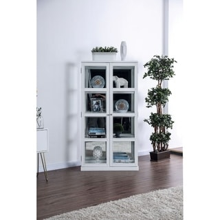 Transitional Wooden Curio Cabinet with Two Glass Doors and Four Shelves, White