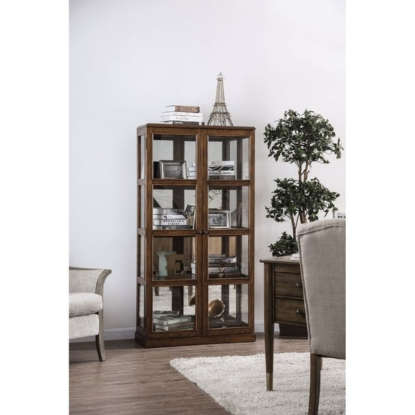Transitional Wooden Curio Cabinet with Two Glass Doors and Four Shelves, Oak Brown