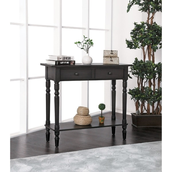 Wooden Two Drawer and One Bottom Shelf Server with Turned Feet, Gary