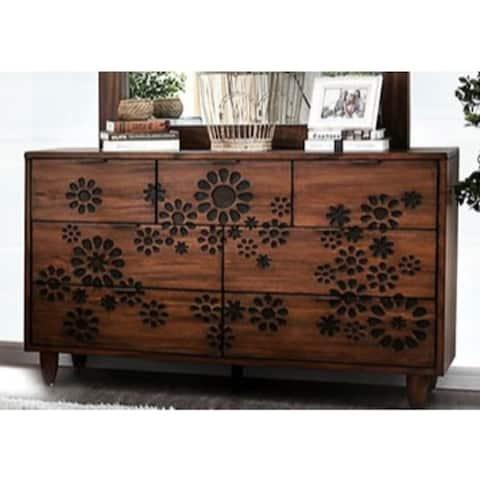 Transitional Brown 7-drawer Solid Wood Dresser