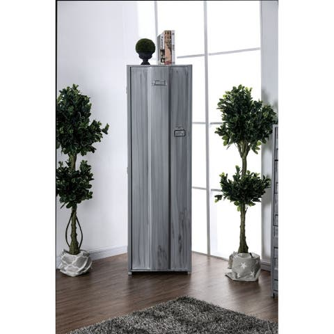 Contemporary Metal Locker Inspired Armoire with Two Shelves and Metal Pulls, Silver