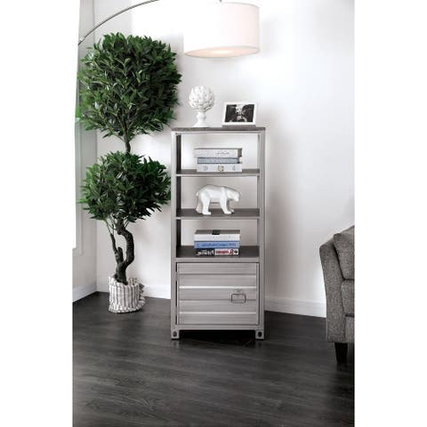 Metal Left Pier Cabinet with Three Shelves and Right Handled Door Storage, Silver