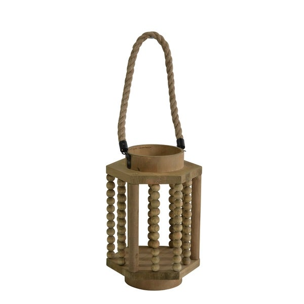 Abacus Design Hexagonal Wooden Lantern with Rope Hanger, Rustic Brown