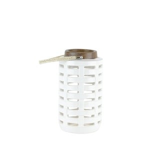 Ceramic Lantern with Rope Handle, Large, Brown and White