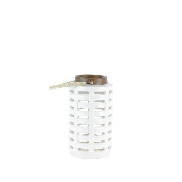 Ceramic Lantern with Rope Handle, Small, Brown and White
