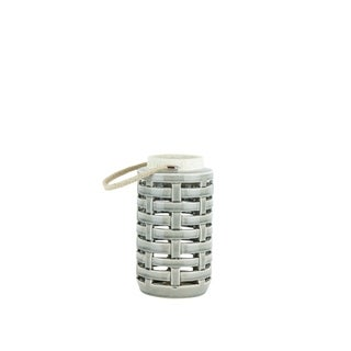 Ceramic Lantern with Rope Handle, White and Gray
