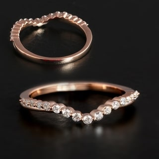 1/5ct TDW Diamond Contour Wedding Band in 10k Gold by De Couer