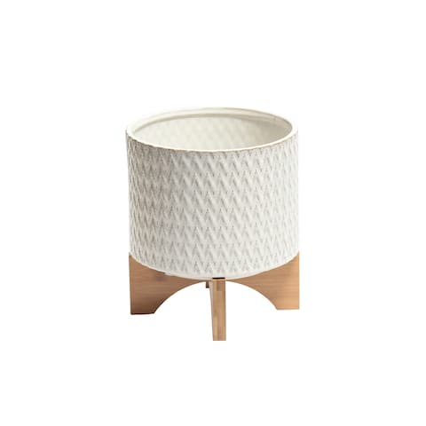 Zig Zag Patterned Ceramic Planter with Wooden Stand, White and Brown