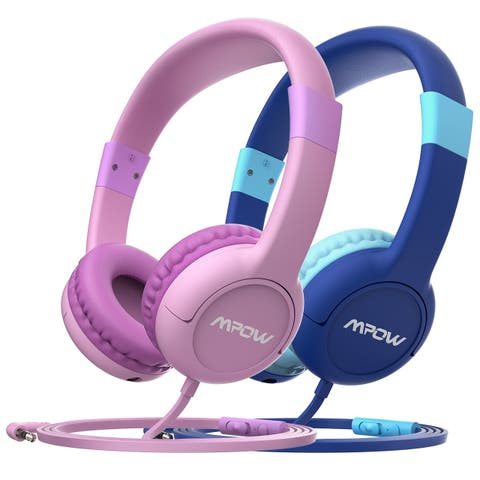 Mpow Kids Headphones, 2 Children Headphone Set with Volume Control and Mic