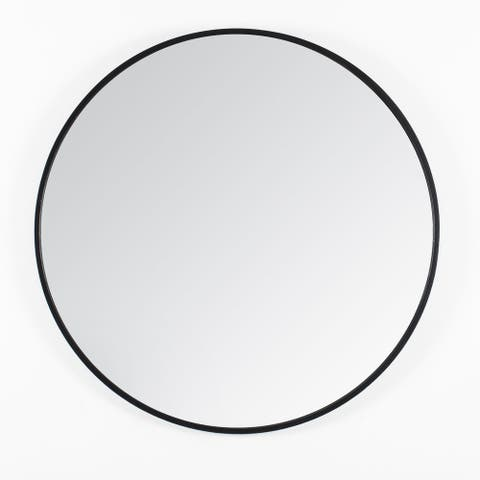 Vasto Black Round Mirror 24""