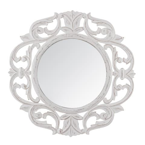 "Alba White Carved Mirror 24"" - A"
