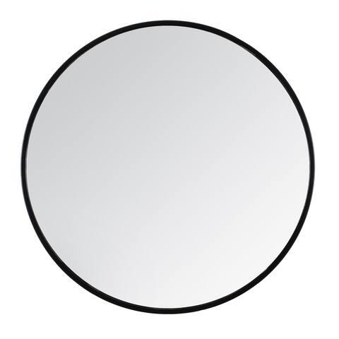 "Tivoli Black Non Bevelled Round Mirror 28"""