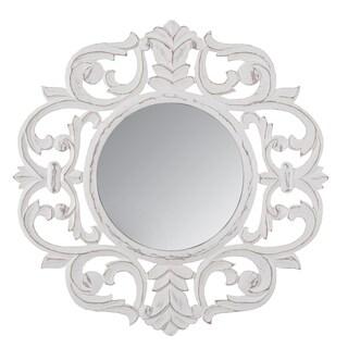 """Milton White Carved Mirror 30"""""""