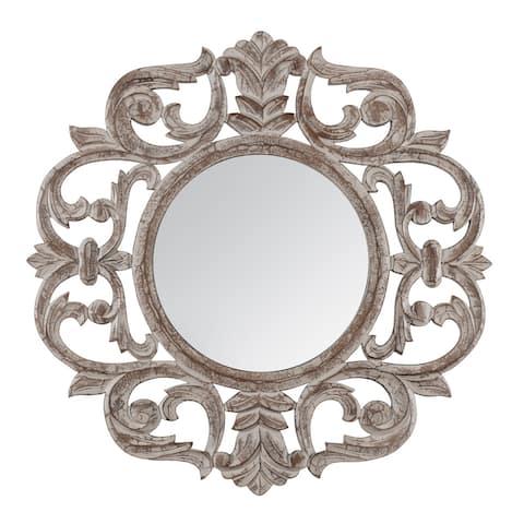 "Milton Grey Carved Mirror 30"" - 76*76"