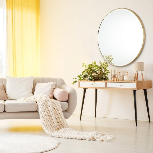 "Asti Gold Bevelled Round Mirror 36"" - 36*36. Opens flyout."
