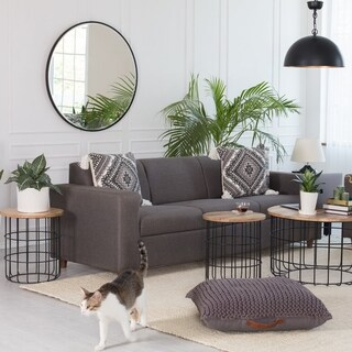 Asti Black Bevelled Round Mirror 36""