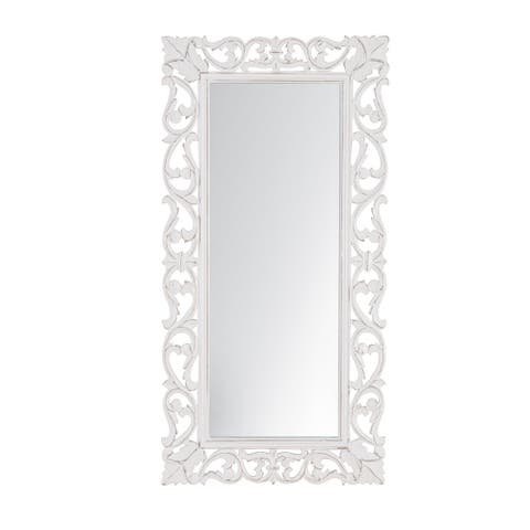 "Passo White Carved Mirror 18""X36"" - 91*45"