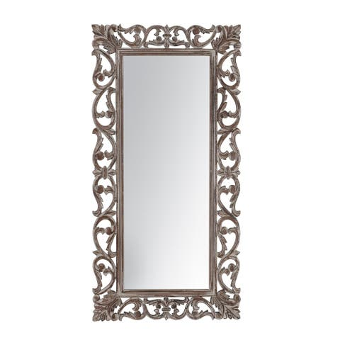 "Passo Grey Carved Mirror 18""X36"" - 91*45"