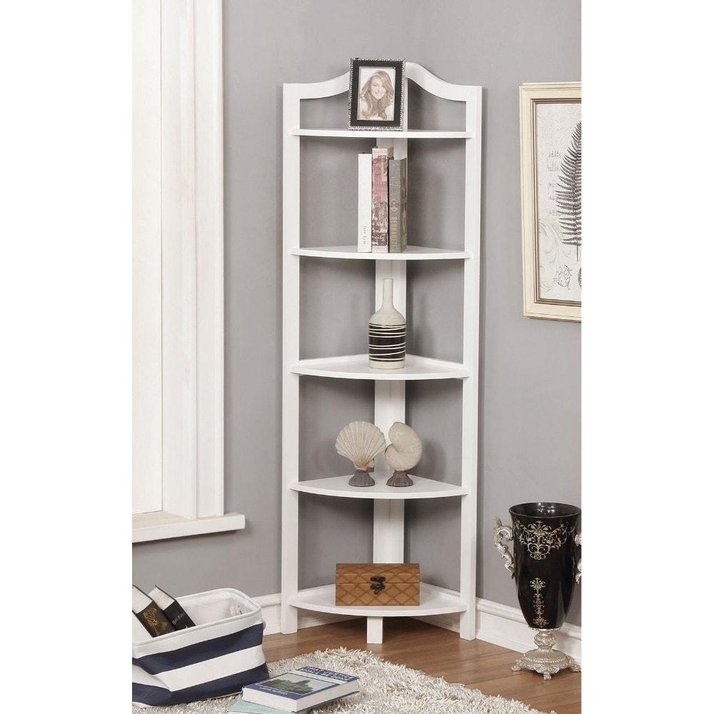 Copper Grove  Velizy White Wood Open-frame Ladder Shelf with 5 Shelves