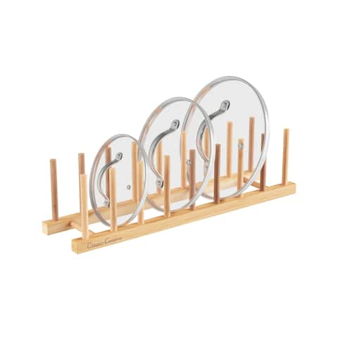 Bamboo Plate Holder  Wood Vertical Dish Organizer Peg Board for Kitchen and Home Storage by Classic Cuisine
