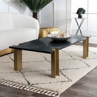 """The Curated Nomad Philo Off-white Modern Chic Zig Zag Trellis Shag Tassel Area Rug - 7' 10"""" Square"""