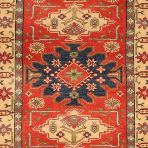 Handmade One-of-a-Kind Kazak Wool Rug (Afghanistan) - 2'10 x 6'10