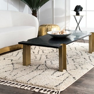 """The Curated Nomad Philo Off-white Moroccan Tribal Geometric Shag Tassel Area Rug - 10' 2"""" x 14'"""