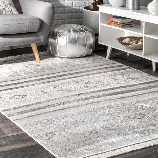 The Curated Nomad Ashbury Grey Contemporary Transitional Tribal Chic Ombre Tassel Area Rug - 9' x 12'