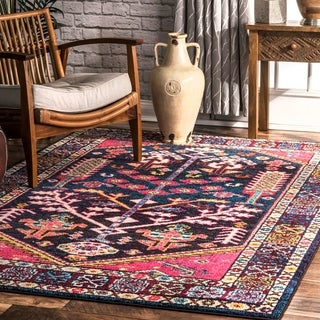 The Curated Nomad Taraval Pink Southwestern Tribal Medallion Border Area Rug - 9' x 12'