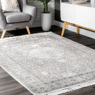 The Gray Barn Tall Oak Silver Ornamental Chic Tassel Area Rug - 10' x 14'