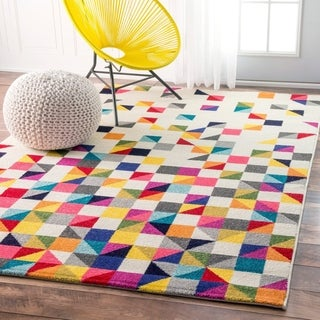 Taylor & Olive Lurleen Multi Contemporary Triangle Mosaic Round Area Rug - 5' Round