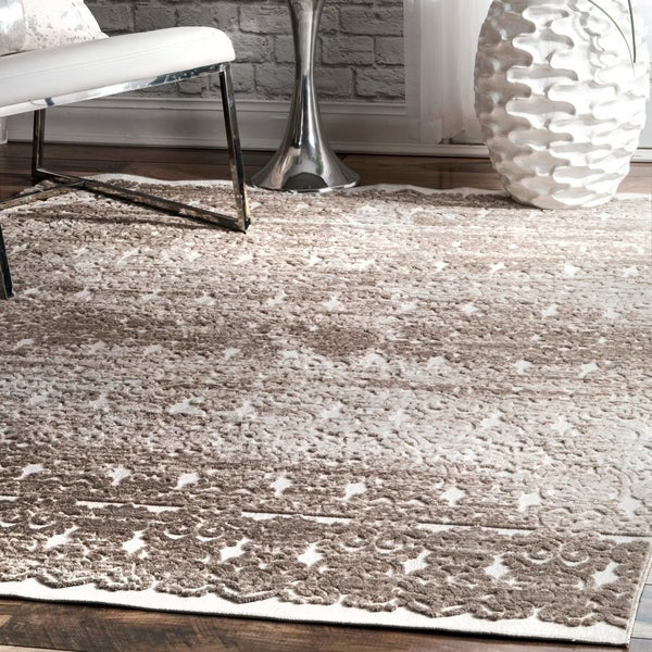 "Porch & Den Blanchard Beige Victorian Glam Faded Royal Damask Print Area Rug - 6' 7"" x 9'"