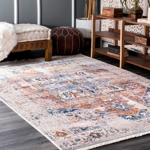 Porch & Den Tanglewood Ivory Medallion Border Area Rug - 5' Round