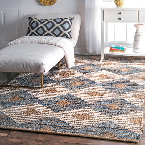 The Curated Nomad Kowolska Off-white Handmade Braided Natural Jute Diamonds Area Rug- 8' 6 x 11'6