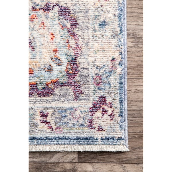 Porch & Den Tallgrass Faded Sky Blue Medallion Finge Area Rug - 9' x 12'