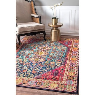 """nuLOOM Multi Distressed Traditional Flower Persian Area Rug - 6' 7"""" x 9'"""