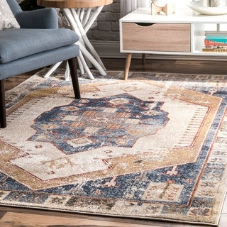 """The Curated Nomad De Haro Vintage Glossy Medallion Faded Border Area Rug - 6' 7"""" x 9'"""