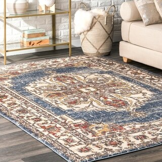 Copper Grove Wervik Blue Vintage Glossy Medallion Faded Area Rug - 6'7 x 9'